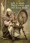 life is short smile while you still have teeth spinning wheel