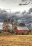 Barn Red Clouds Autumn Trees