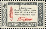 US Postage stamp depicting Jefferson quote