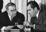 Soviet leader Leonid Brezhnev (left) and U.S. President Richard Nixon