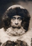 Photogravure portrait of Robert Peary in furs