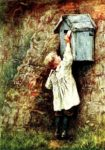 Vintage Old Fashioned Victorian Antique Watercolor helen allingham mailbox